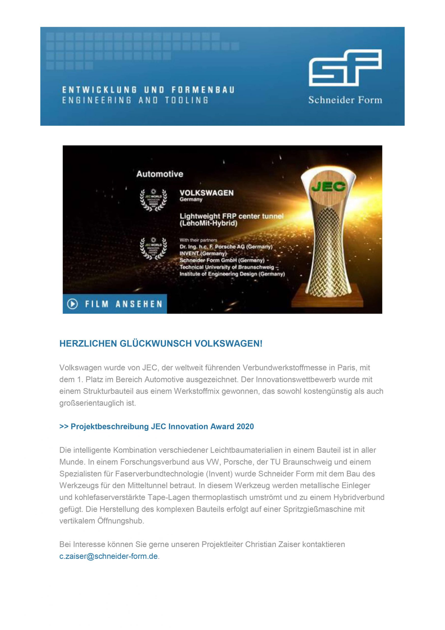Schneider Form JEC Award 2020